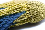 Schärpenquasten mit fester Schleife gold-blau