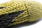 Schärpenquasten mit fester Schleife gold-schwarz