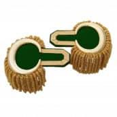 Epauletten gold (ein Paar) mit Raupen gold-grün