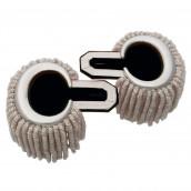 Epauletten silber (ein Paar) mit Raupen silber-schwarz