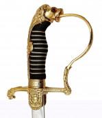 Löwenkopfsäbel schwarze Scheide mit 2 Ringen