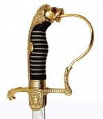 Löwenkopfsäbel vernickelte Scheide mit 2 Ringen