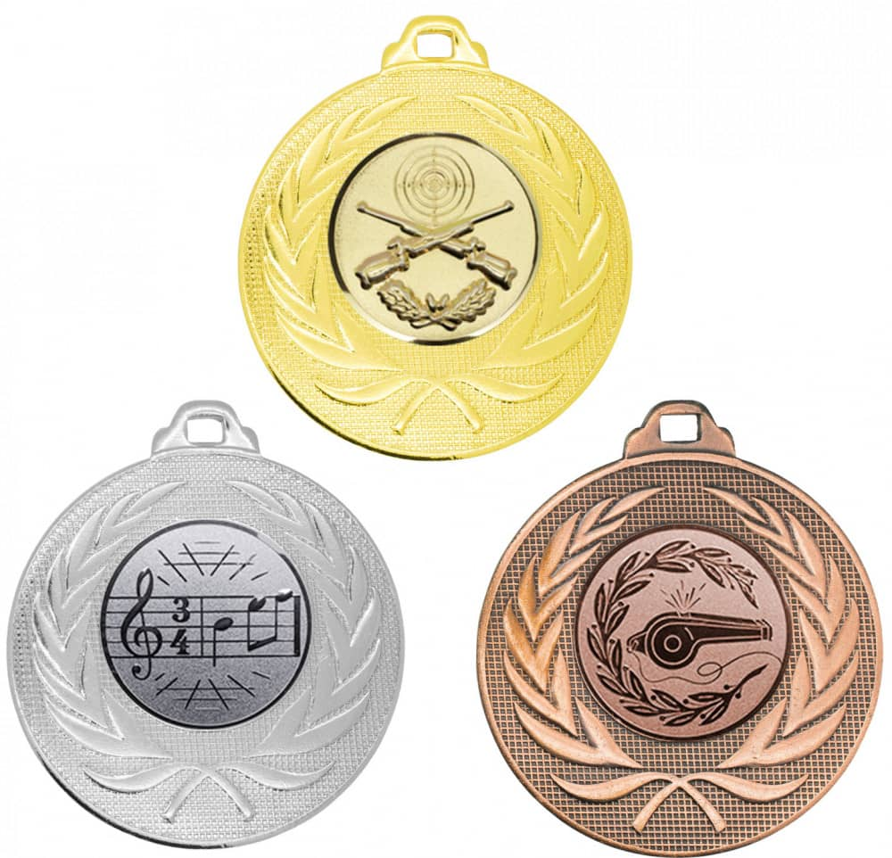 """Medaille """"Elea"""" Ø 50mm mit Wunschemblem und Band gold"""