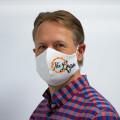 Wiederverwendbare Mund- und Nasenmaske weiß - bedruckbar - für Herren