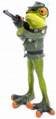Deko Figur Schützenfrosch mit Gewehr