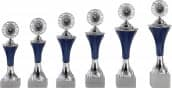 Pokale 6er Serie A292 silber/blau mit Deckel 19 cm