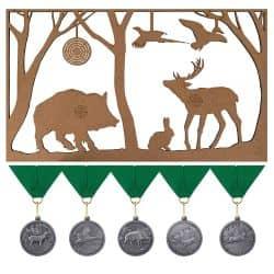 """Jagdscheibe """"Weidmann"""" mit Jagd-Medaillen und grünem Band"""