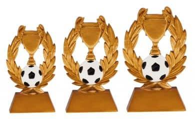 Pokal mit Fußball 3er Serie TRY-RE001 gold