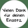 """Danke Emblem """"Vielen Dank für deinen Einsatz"""" 25mm schwarz"""