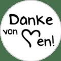 "Danke Emblem ""Danke von Herzen!"" 25mm schwarz"