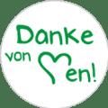 """Danke Emblem """"Danke von Herzen!"""" 25mm weiß"""