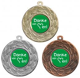 """Danke Medaille """"Gyges"""" Ø 50 mm inkl. Wunschemblem und Kordel"""