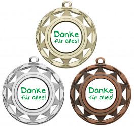 "Danke Medaille ""Okeanos"" Ø 50 mm inkl. Wunschemblem und Kordel"