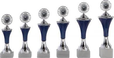 Pokale 6er Serie A292 silber/blau mit Deckel