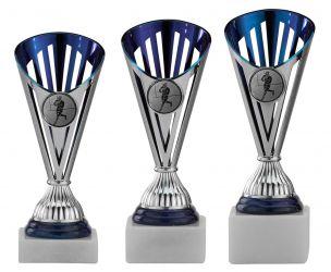 Footballpokale 3er Serie A311-AF silber/blau