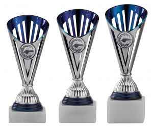 Handballpokale 3er Serie A311-HA silber/blau