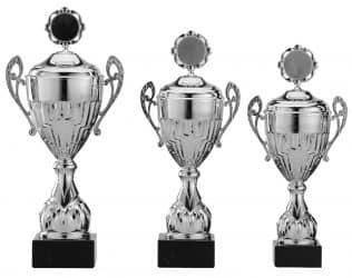 Pokale mit Henkel 3er Serie S758-3erB silber mit Deckel