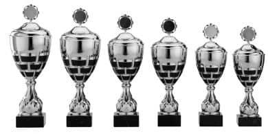 Pokale 6er Serie S870 silber-schwarz mit Deckel