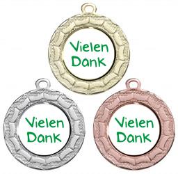 """Danke Medaille """"Eurybia"""" Ø 40 mm inkl. Wunschemblem und Kordel"""