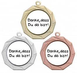"Danke Medaille ""Kottos"" Ø 70 mm inkl. Wunschemblem und Kordel"