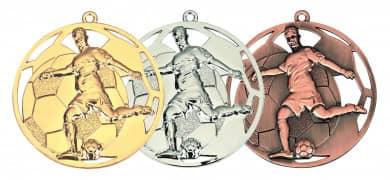 "3D Fußballmedaille ""Spieler"" Ø 50 mm inkl. Wunschemblem und Kordel"