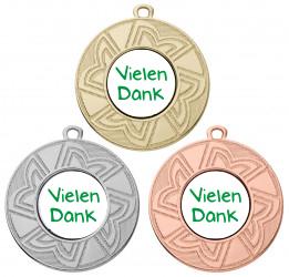 """Danke Medaille """"Ourea"""" Ø 50 mm inkl. Wunschemblem und Kordel"""