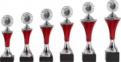 Pokale 6er Serie A293 silber/rot mit Deckel