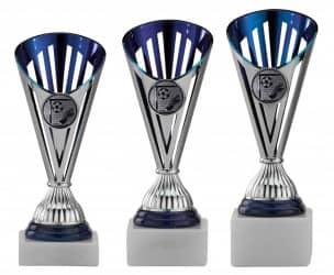 Fußballpokale 3er Serie A311-FB silber/blau