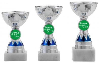 Danke Pokale 3er Serie S1213 silber/blau