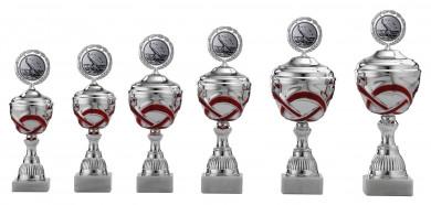 Pokale 6er Serie S490 silber/rot mit Deckel