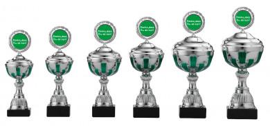 Danke Pokale 6er Serie S491 silber-grün mit Deckel