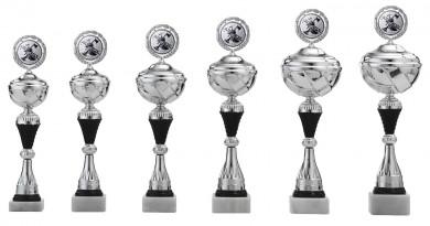 Pokale 6er Serie S498 silber/schwarz mit Deckel