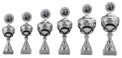 Pokale 6er Serie S504 silber/schwarz mit Deckel