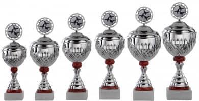 Pokale 6er Serie S750-6er silber/rot mit Deckel