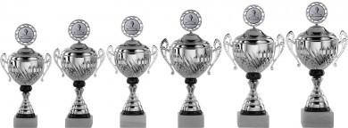 Pokale mit Henkel Serie S752-6er silber/schwarz mit Deckel 28 cm bis 43 cm
