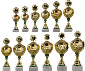 Pokale 12er Serie S754 gold-grün mit Deckel 30 cm