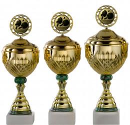 Pokale Serie S754-3erB gold-grün mit Deckel
