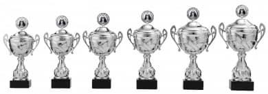 Pokale mit Henkel 6er Serie S872 silber mit Deckel