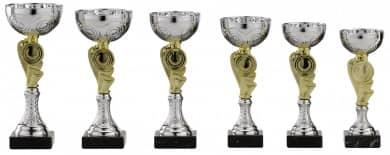 Pokale 6er Serie S155 silber-gold 20 cm