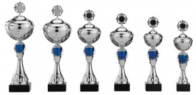 Pokale 6er Serie S471 silber/blau mit Deckel