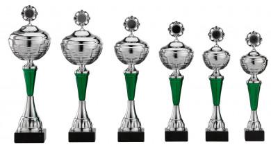 Pokale 6er Serie S473 silber-grün mit Deckel