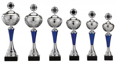 Pokale 6er Serie S482 silber-blau mit Deckel