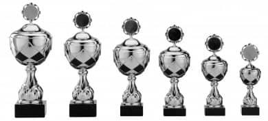 Pokale 6er Serie S756-6er silber/schwarz mit Deckel