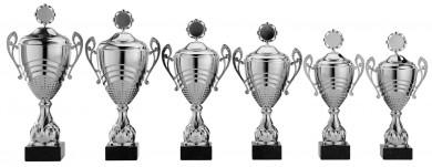 Pokale mit Henkel 6er Serie S871 silber mit Deckel