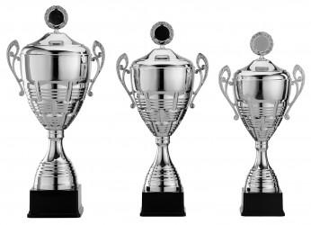 Pokale mit Henkel Serie S966 silber mit Deckel