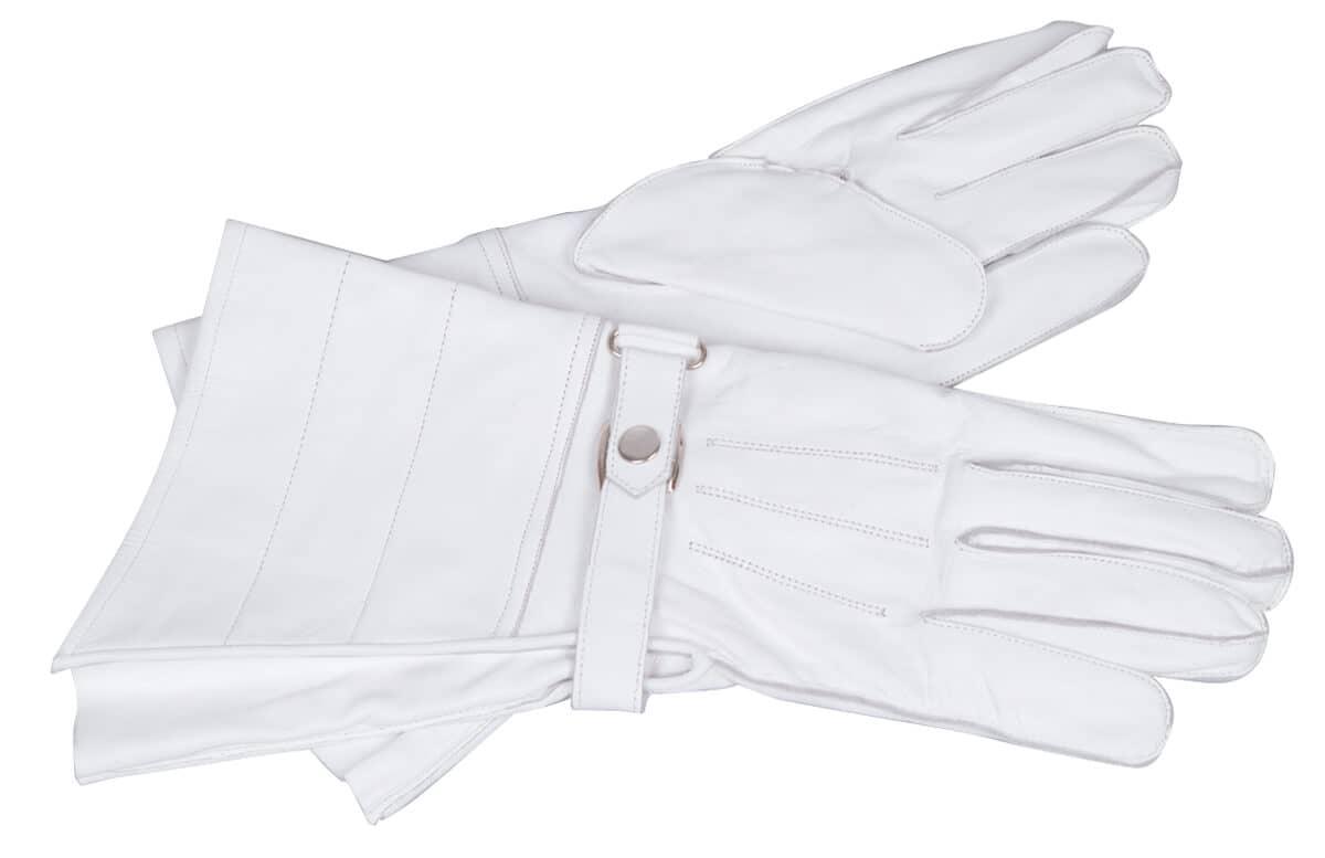 sehr anschmiegsam und zart Weiße Stulpenhandschuhe aus Leder Lederhandschuhe
