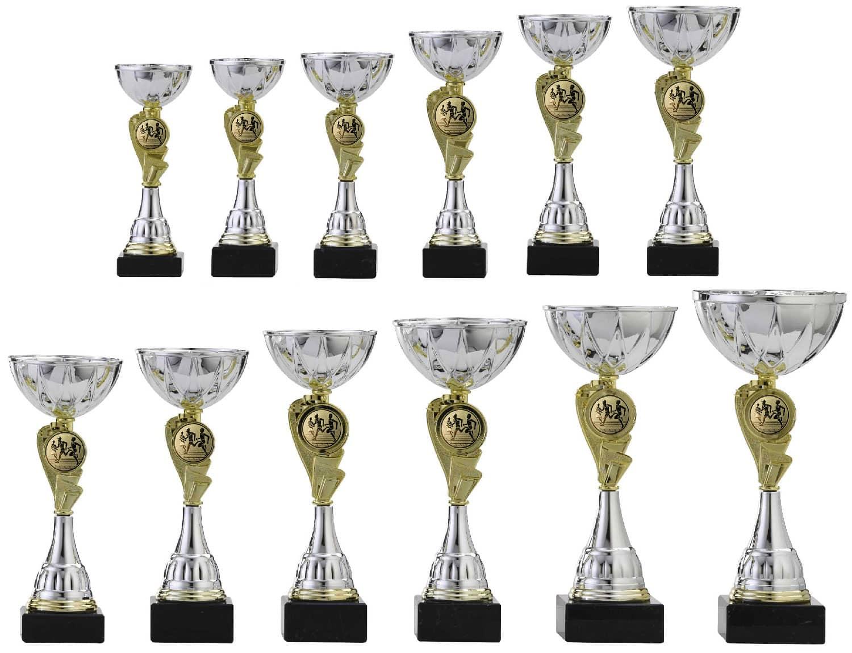 Pokal Pokale mit Gravur einzeln oder als Serie silber grün Höhe 30 cm bis 32 cm