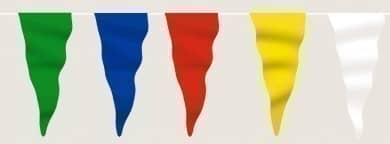 Wimpelkette bunt (grün-blau-rot-gelb-weiß) aus Stoff (Meterware)