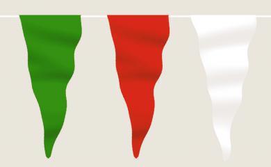 Wimpelkette grün-rot-weiß aus Stoff (Meterware)