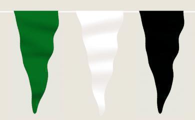 Wimpelkette grün-weiß-schwarz aus Stoff (Meterware)